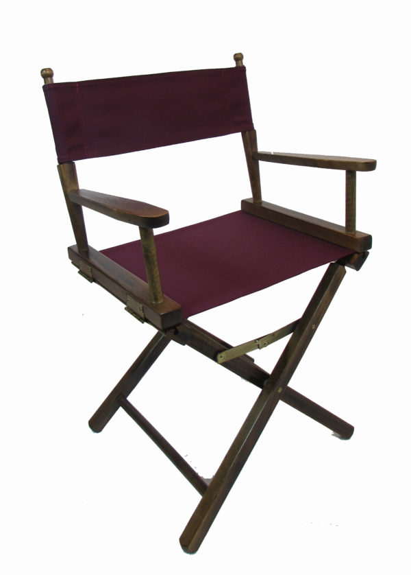 Contemporary Model Table Height Walnut Finish Directors Chair