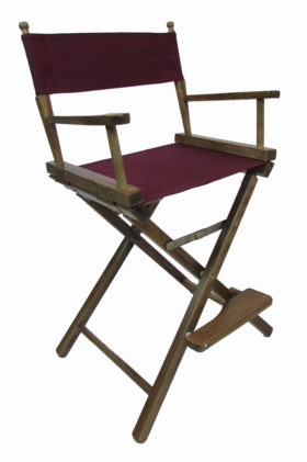 Contemporary Model Counter Height Walnut Finish Directors Chair