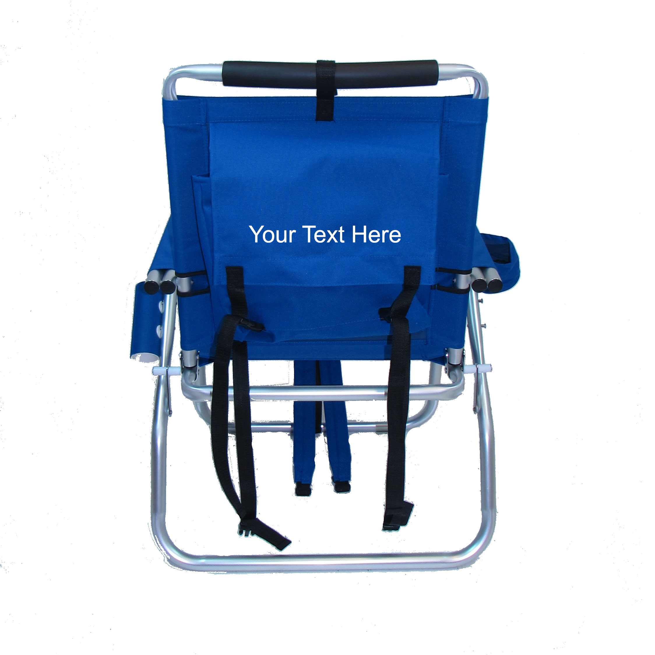 Imprinted Backpack Fishing Chair With Cup And Rod Holder